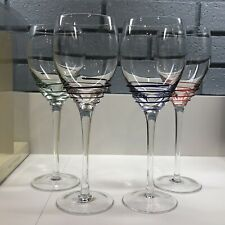 New listing Set of 4 Pier 1 Twist Wine Glasses In Original Box - Cobalt Amethyst Green & Red
