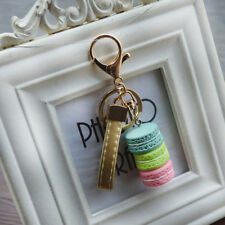 Cute Girls Macaron Keyring Cake Keychain Metal Key ring Chain Keyfob Gift Slinky