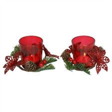 portacandeli rossi per la decorazione della casa vetro