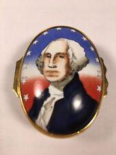 "Halcyon Days Enamel Pill Box ""George Washington"" Designed by Tiffany & Co."