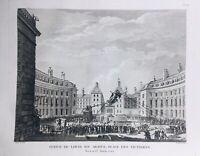 Place des Victoires Paris en 1792 Louis 16 Révolution Française Rare Gravure