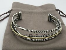 David Yurman Sterling Silver & 18k Yellow Gold Four Row Crossover Bangle