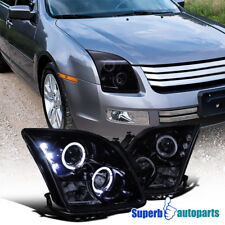 For 2006-2009 Ford Fusion LED Halo Rim Projector Headlight Glossy Black Smoke