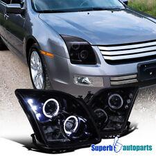 2006-2009 Ford Fusion Smoke LED Halo Rim Projector Headlight Glossy Black Pair