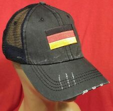 German Flag Distressed Trucker Hat Low Profile Cotton Mesh Ball Cap Black Hat