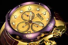 Invicta Men 54mm RESERVE VENOM GOLD LABEL SWISS Gold Brgundy Brown Leather Watch