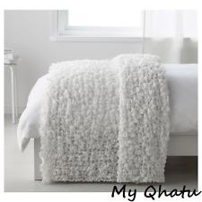 "Ikea Ofelia Super Soft Crinkled Throw Blanket 51"" x 67"" White New"