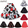 PLUS SIZE WOMENS 40s 50s VINTAGE RETRO PIN UP ROCKABILLY SWING MIDI SKIRT