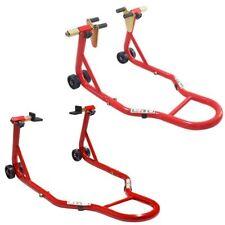 CRUIZER Cavalletti Universale Moto Posteriore Piastra + Anteriore pinza Rosso