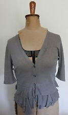 VERONIKA MAINE ~ Grey Linen Blend Knit Cardigan w 3/4 Sleeves Frills on Hem ~ M