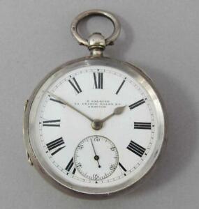 FINE ANTIQUE STERLING SILVER LEVER POCKET WATCH 1889 by S SALKIND NORWICH