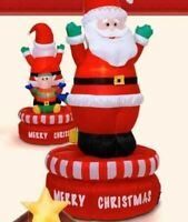 5 Ft Christmas Animated Rotating Santa & Elf Lighted Airblown inflatable Yard