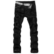 Men's Ripped Straight Biker Jeans Destroyed Holes Frayed Slim Fit Denim Pants