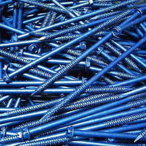 """(50) 1/4"""" X 6"""" Hex Washer Head Masonry Concrete Screw Tapcon Anchor Blue"""