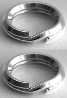 2 SECURE STERLING SILVER BEVELLED SPLIT RINGS, 6 MM, SAFER THAN JUMP RINGS