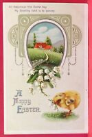 Old Postcard 1910s Happy Easter Chick Lillies of the Valley Printed Germany B2