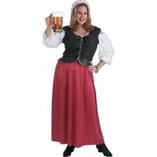 Medieval/ Renaissance/ Pirate Wench Costume 2 Pc Red & Blk Dress & Mob Cap Plus