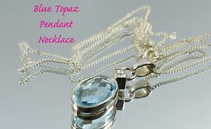 Beautiful Sterling Silver Blue Topaz & Clear Crystal Pendant and Chain