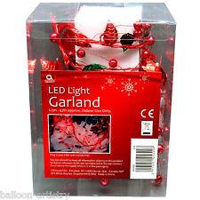 1.2m Festa di Natale Red Berry FOIL Filo Ghirlanda Decorazione di interni Luci LED