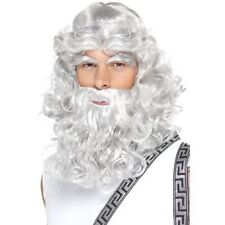 Mens Grey Zeus Wig Beard Brows Mythical God Ancient Greek Fun Fancy Dress Unisex