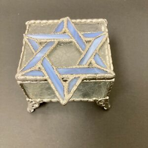 Stained Glass Star Of David Jewelry Trinket Box Clear Embossed & Blue Glass. O