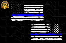 THIN BLUE LINE Distressed American Flag Decal Police Officer Blue Lives Matter