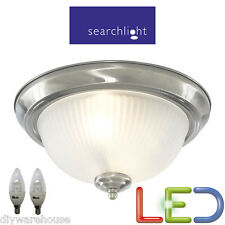 SEARCHLIGHT 4042 LED 2 X 5.9 WATT SATIN SILVER IP44 BATHROOM LIGHT CEILING NEW