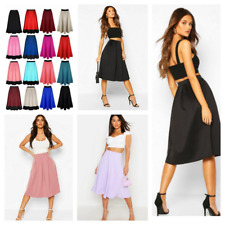Women Ladies Midi Skirt Mid Length Stretch Flared Skater Swing Long Scuba Skirt