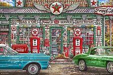 FRED'S GARAGE - NOSTALGIC ART POSTER 24x36 - FISHEL CLASSIC CARS 3107