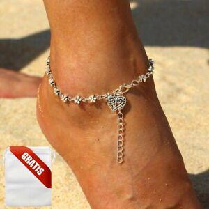 Fußkettchen Damen Herz Silber Blumen Fußkette Fusskette Schmuck Geschenk Frauen