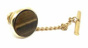 GENUINE TIGERS EYE TIE TACK 18KT GOLD PLATED