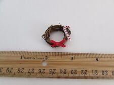 Dollhouse Miniature -Christmas Holiday Decoration Grapevine Wreath Bow Candycane
