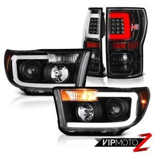 For 2007-2013 Toyota Tundra Inky Black Fiber Optic Tail Custom Head Lamps Pair