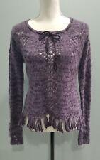 Twiggy Womens Purple Fuzzy Mohair Fringed Boho Hippie Knit Sweater Large -351