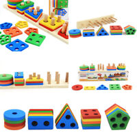 Educational Baby Kids Child Puzzle Wooden Toy Geometric Sorting Board Blocks ret