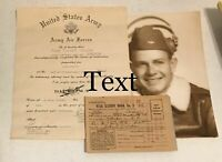 WW2 US Military Army Air Forces Document Lot Pilot Diploma Picture War Rations