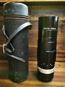 Petri 1:4 f=200mm 55mm Camera Lens w/ Leather Case, Made In Japan. 60604