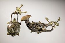 2 Piece Lot Brass Fish/Turtle Pad Lock Combo Collectible Locks