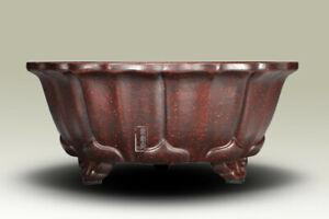 1 Pcs Lotus Shape Chinese Yixing Zisha Shohin Bonsai Pot 6.25''x6.25''x2.5''
