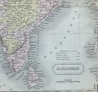 Antique Map INDIA or HINDOSTAN c1853 by S. Hall engraved original outline colour