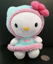"Hello Kitty Snow Suit Plush Cat 6"" Sanrio Blip 2014 Blue Furry Dress Pink Trim !"