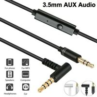 3.5mm Audio Aux Male to Male Car Headphones Cable With Microphone Volume Control