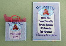 DOLLHOUSE MINIATURE ~ BAKERY SHOPPING BAG & SHOP SIGN HANDCRAFTED