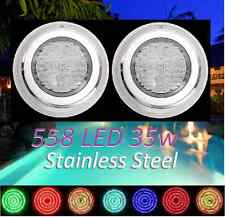New 2x Stainless Steel 558 LED Lights RGB 7Color Swimming Pool Spa Wall Mounted