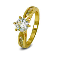 Solitaire Womens Ring 9ct Gold Filled White 6mm Simulated Diamond RG122 Size L N
