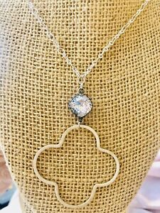 Long Clear swarovski   Crystal Square necklace Silver Tone Chain Pendant New
