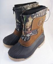 NEW OZARK TRAIL YOUTH BOYS MOSSY OAK CAMO LEATHER -5F RATED WINTER BOOTS SIZE 4