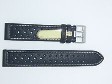 Di-Modell Impermeable perforado 19 mm Negro reloj banda correa Rallye Wapro Beige