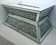 Mirrored Coffee Table Tapered Design Sparkly Silver Diamond Crush Crystal