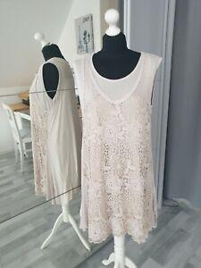 Made in italy Kleid L 40/42 Strech Beige Spitze Zweiteilig